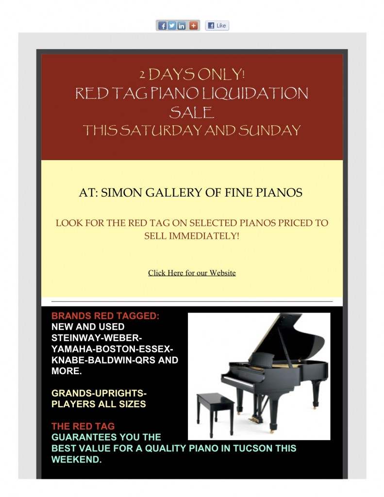 2 day Red Tag Piano Liquidation