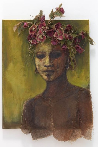 African Youth With Pink Flower Headdress