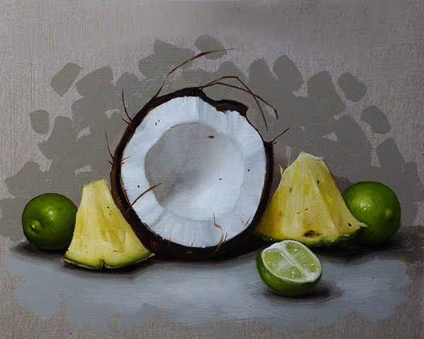 Coconut Half, Pineapple and Limes